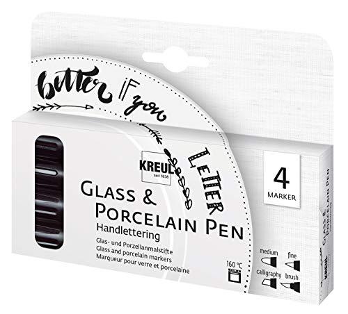 Kreul 16480 - Glass & Porcelain Pen Handlettering, 4 Schwarze Stifte mit verschiedenen Spitzen und Strichstärken, brillante Glas-und Porzellanmalfarbe, ideal für schöne Schriften
