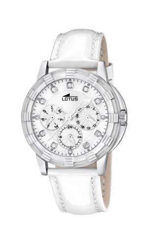 Lotus 15746/1 - Reloj analógico de Cuarzo para Mujer, Correa de Cuero Color Blanco (Agujas luminiscentes)