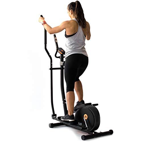 BPlus Vélo elliptique avec 8 niveaux de résistance. cardiofréquencemètre pour usage domestique. Panneau de commande LCD. Couleur : noir et orange. Roues avant. Résistance réglable.