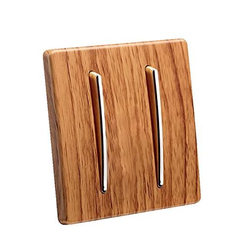 Interruptor oculto tipo 86 Panel de interruptores de control simple y doble de 2 vías Panel de interruptores de personalidad de madera amarilla Interruptor de cuchillo plateado Decoración moderna Pane