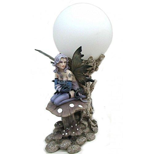 Lampe Fée avec dragon (Modèle C) - en résine - Hauteur 32 cm