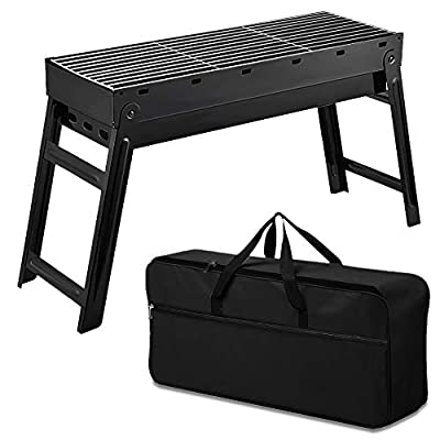 Macalen 18 Inch Portable Charcoal BBQ Grill, Stainless Steel Folding Charcoal Barbecue Grill, Durable Tabletop Barbecue Smokers Tool Kits for Outdoor Picnic Patio Backyard Camping Cooking