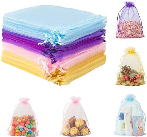 80 Piezas Bolsas de organza,Bolsas con Cordón para Favores de Fiesta de Boda,Bolsas de Joyas y Regalo,13 * 18 cm,Púrpura/Rosa/Amarillo/Azul