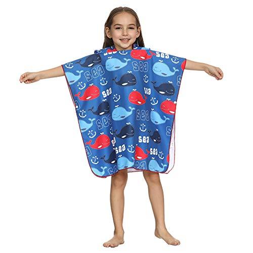 ED-Lumos Asciugamano da Bagno con Cappuccio per Bimba Poncho Beach Accappatoio in Microfibra per Bambini 4-7 Anni Balena