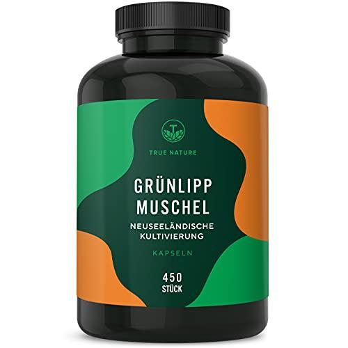 TRUE NATURE® Grünlippmuschel - 450 Kapseln mit je 500mg - Hochdosiert mit 2000mg pro Tagesdosis - Ohne jegliche Zusatzstoffe - Kultiviert in Neuseeland - Laborgeprüft - Deutsche Produktion
