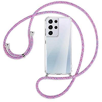 mtb more energy® Collar Smartphone para Samsung Galaxy S21 Ultra 5G (SM-G998, 6.8'') - Unicornio Morado - Funda Protectora ponible - Carcasa Anti Shock con Cuerda Correa
