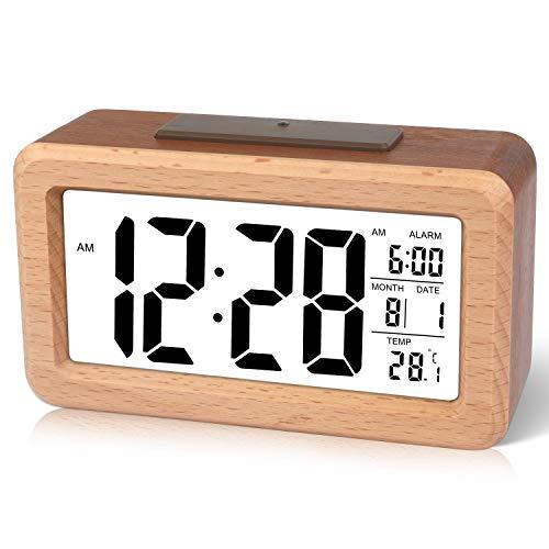 Wecker,Digitaluhr,Digital Wecker Uhr Mit Großer LCD Display Datum Und Temperatur Anzeige Mit Snooze Und Nachtlicht Funktion Für Kinder, Für Zuhause, Schlafzimmer, Badezimmeruhr Und Büro (Dunkelbraun)