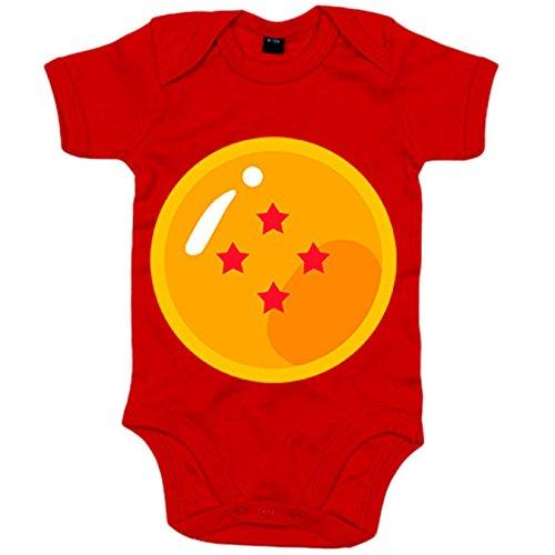 Body bebé ilustración bola de 4 estrellas del abuelo de Goku - Rojo, 12-18 meses
