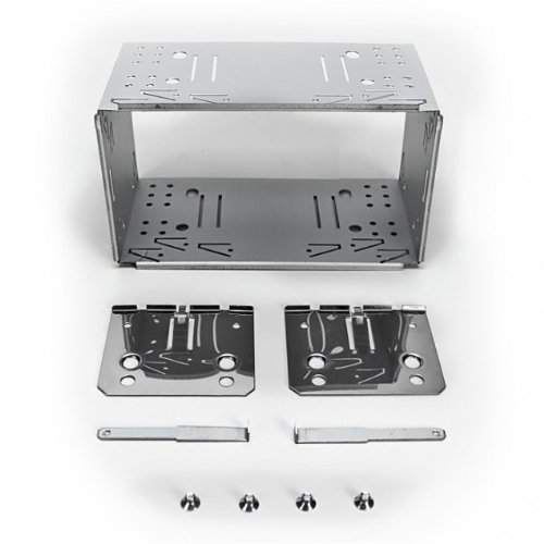 XOMAX PLANCIA/Telaio Universale DIN2 (Doppio DIN) in Metallo + Set Completo con 4 Viti, 2 Piastre di Montaggio e 2 Chiavi di Estrazione