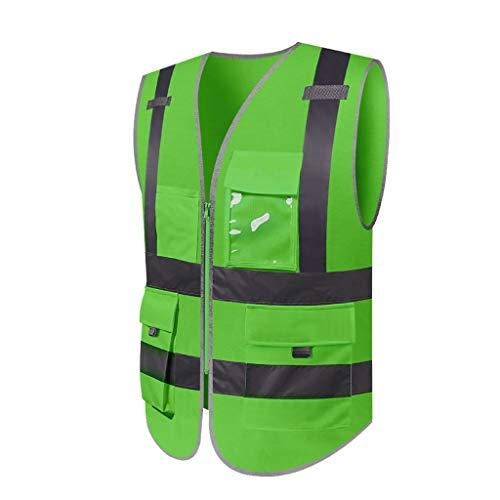 DBL Reflektierende Warnweste Leichte und atmungsaktive Arbeitskleidung mit mehreren Taschen Warnweste Reisen bei Nacht Sicherheit Sicherheitswesten (Color : Green, Size : L)