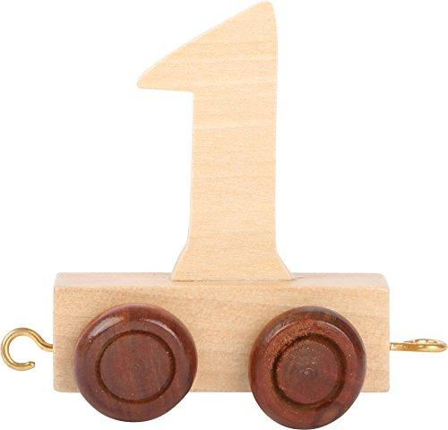 Buchstabenzug | Geburtstags Zahlen und Waggon mit Kerzenhalter | Holzeisenbahn | EbyReo® Namenszug aus Holz | personalisierbar | Geburtstag oder als Deko für den Geburtstagstisch (Zahl 1)