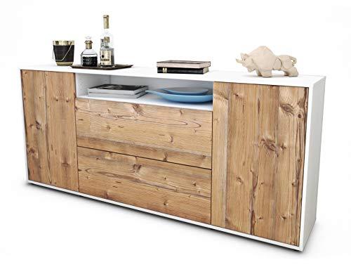 Stil.Zeit Sideboard Erina/Korpus Weiss matt/Front Holz-Design Pinie (180x79x35cm) Push-to-Open Technik