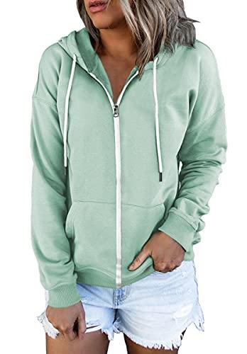 Lillusory Women's Zip Up Hoodie Long Sleeve Fall Oversized Sweatshirts Casual Drawstring Hoodies Jacket with Pocket Mint Green