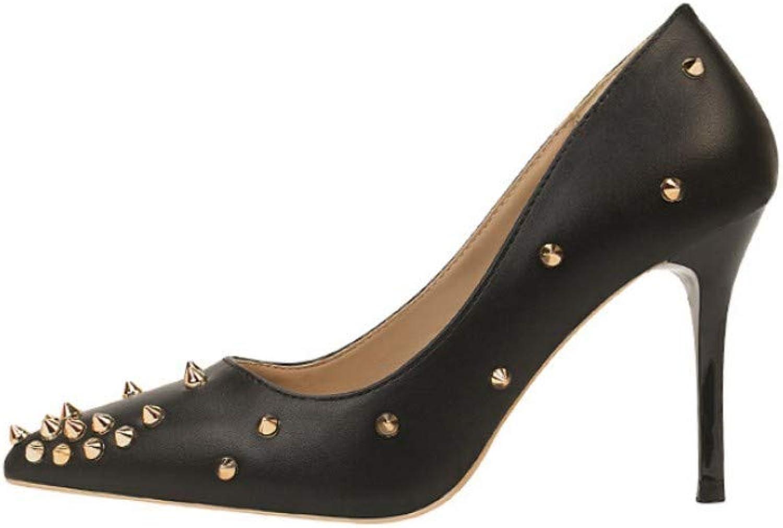 Mode Einfache Frauen Schuhe Damen High Heel Flacher Mund Mund Spitzen Niet Sexy Schwarz  große rabattpreise