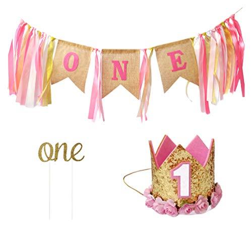 PRETYZOOM 3Pcs / Set 1St Birthday Party Banner Decor Funny Cake Picks Romántico Crown Hat Props One Printing Silla de Comedor Banners para Niños Niño Niña Niños - Oro