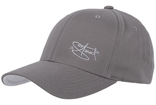 2Stoned Flexfit Cap Wooly Combed Grau mit Stick, Größe XXL (62 cm - 65 cm), Basecap für Herren