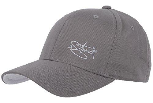 2Stoned Flexfit Cap Grau mit Stick, Größe XS (55 cm - 57 cm), Basecap für Damen, Herren und Kinder