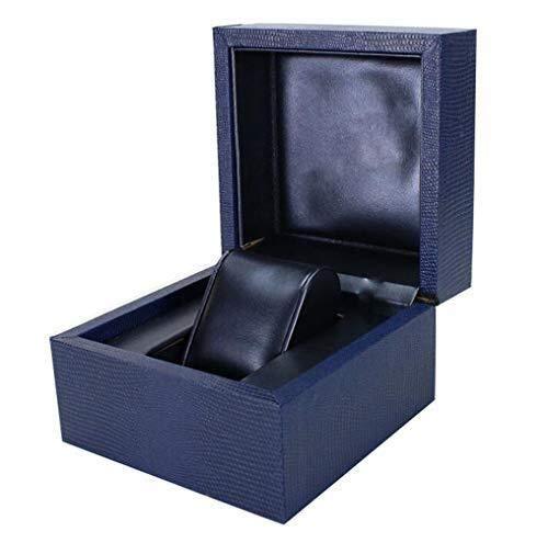 ZhenHe Staubdichte Einzelgitter-Uhrenbox, Uhren-Aufbewahrung, Schmuck-Organizer, Kunstleder-Uhren-Aufbewahrungsbox für...