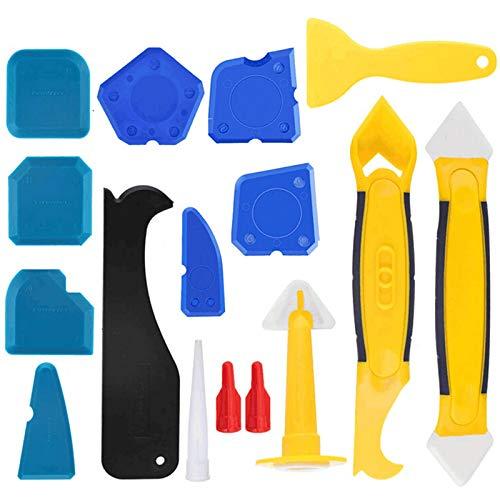KANUBI 16 juegos de herramientas de sellado, resina de silicona, boquilla de sellado, aplicador, espátula de silicona para refinar las grietas de la puerta en el baño, cocina y aseo.