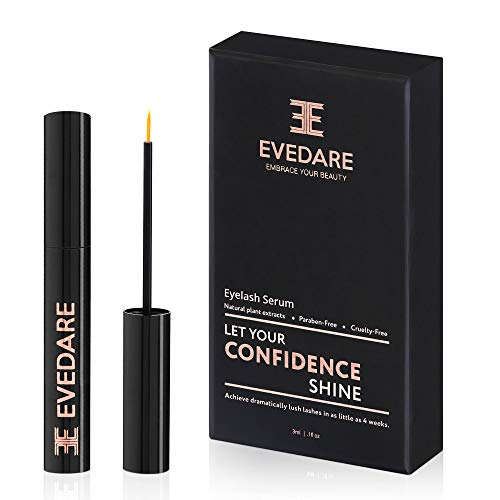 EVEDARE Advanced Eyelash Growth Serum with Enhancing Peptides and Botanical Vitamins for Longer, Thicker, Fuller Lashes, Natural Extracts Improve Strength, Reduce Brittleness (3ML)