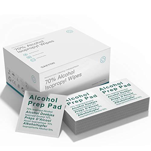 SAEYON [100 Piezas] Hisopos de Alcohol, Toallitas de Isopropilo con Alcohol al 70% ~ 75%, Desechables de Alcohol Prep Pads 60mm x 60mm