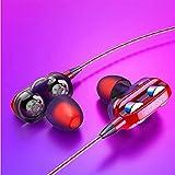 SWNN Auriculares Juegos con Cable Auriculares, Universal En La Oreja Bajo Pesado con Cable Auriculares Estéreo con Micrófono Auriculares Deportes (Cuatro Colores) (Color : Red)