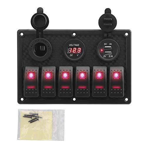Interruptores basculantes de coche de barco 5/6 Interruptor Gang, Rocker panel con fusible 4.2A Dual Slot USB Pantalla zócalo digital de voltaje de marina del barco del carro del coche a prueba de agu