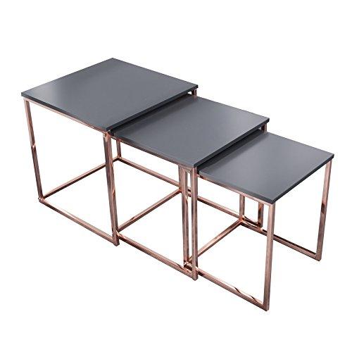 Design Beistelltisch 3er Set ELEMENTS anthrazit kupfer Satztische Couchtisch Tischset Wohnzimmer Couchtische Tische