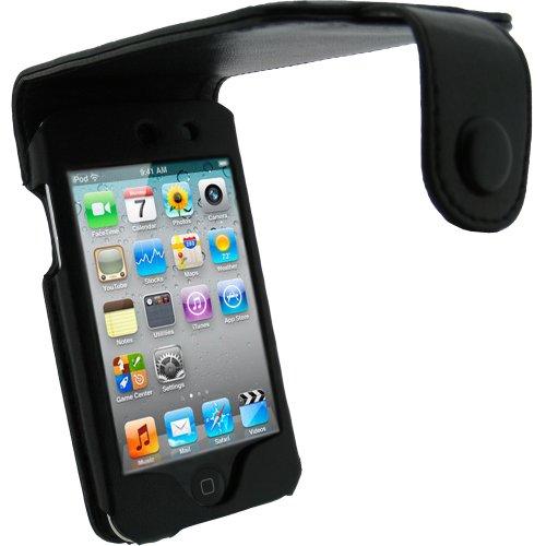 igadgitz echtes Leder Tasche Schutzhülle Etui Case Hülle aufklappbar in Schwarz für Apple iPod Touch 4G 4. Gen Generation 8gb 32gb & 64gb + Gürtelbefestigung + Display Schutzfolie