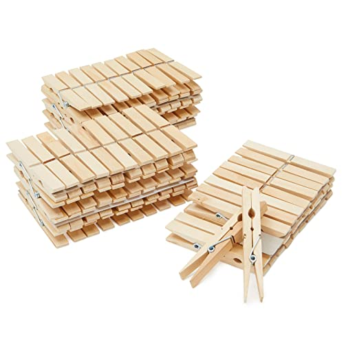 Product Image of the 100 Pack Wooden Clothespins, 4 inch Heavy Duty Clothes Pins for Hanging, Outdoor, Crafts