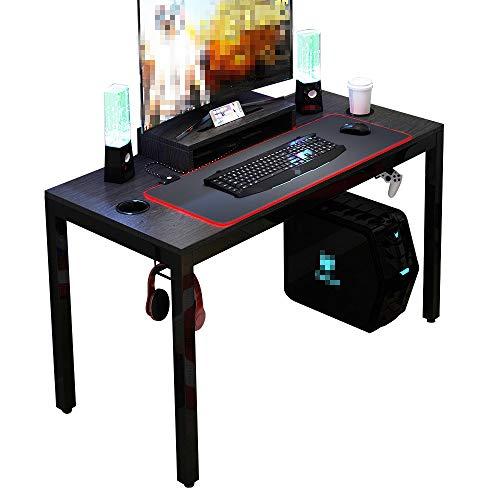 DlandHome Mesa de Juegos Pro para PC Todo en Uno para Computadora de Juegos con Alfombrilla de ratón RGB LED Game & Soporte de Pantalla 120 * 60cm Estación de Trabajo, Negro & Negro