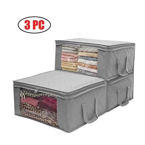 Aufbewahrungsbehälter für Kleidung, 3 Stück, Bambuskohle-Behälter mit großem transparenten Fenster und Tragegriffen