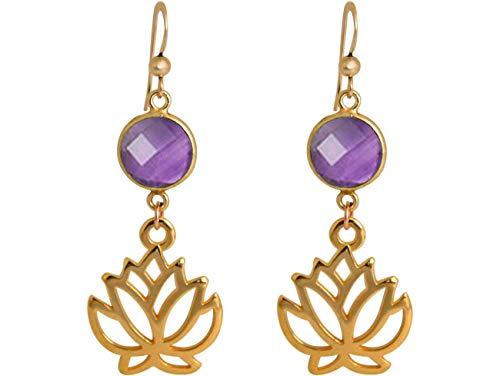 Gemshine YOGA Ohrringe Lotus Blumen Ohrhänger mit lila Amethysten in Silber, vergoldet oder rose. Nachhaltiger, Fair Trade, qualitätsvoller Schmuck Made in Spain, Metall Farbe:Silber vergoldet