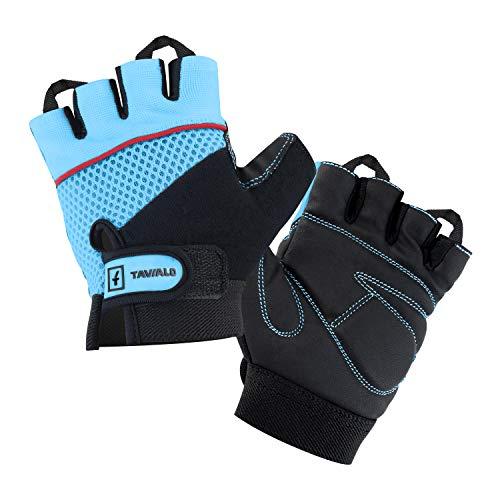 TAVIALO Fitnesshandschuhe, Trainingshandschuhe für Damen, Handschuh Größe S (13-16 cm), Farbe Schwarz/Blau, doppelt verstärkte Leder-Handinnenfläche