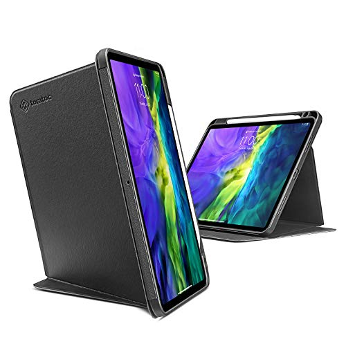 tomtoc Vertical Case for iPad Pro 11 2020 & 2018, Protective Case with Pencil Holder, Support iPad Pencil Wireless Charging, Magnetic Kickstand for 3 Use Mode, Auto-Awake/Sleep
