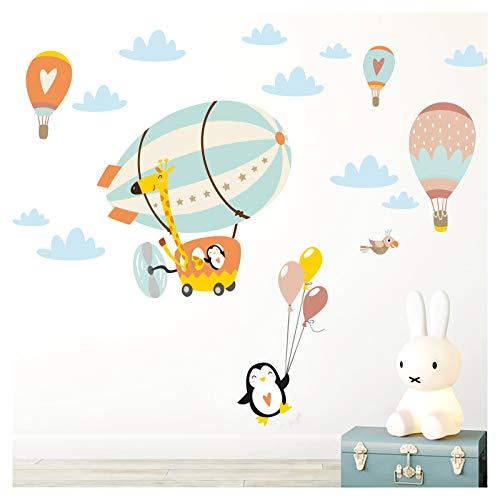 Little Deco DL367 - Adhesivo decorativo para pared, diseño de jirafa en el zeppelin con globos, tamaño M, 112 x 59 cm, color azul pastel, amarillo y naranja