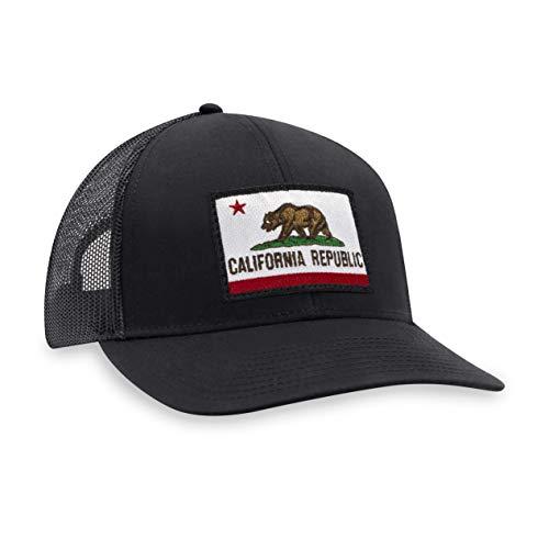 California Flag Hat – California Republic Trucker Hat Baseball Cap Snapback Hat (Black)