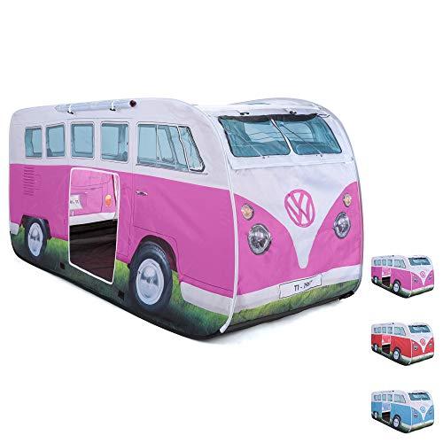 Board Masters Volkswagen VW-Bulli-Wurfzelt und Pop-Up Zelt für Kinder, UPF50+, Camping- und Spielzelt für Mädchen und Jungen, Rosa