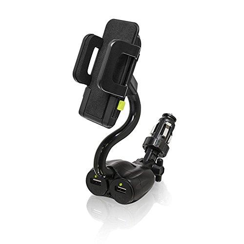 Bracketron Universal TekGrip 12V Power Dock Mount Phone Holder Two Charging Ports Hands Free iPhone X 8 Plus 7 SE 6s 6 Samsung Galaxy S9 S8 S7 S6 Note Google Pixel 2 XL LG Nexus Sony Nokia BT1-663-2, black