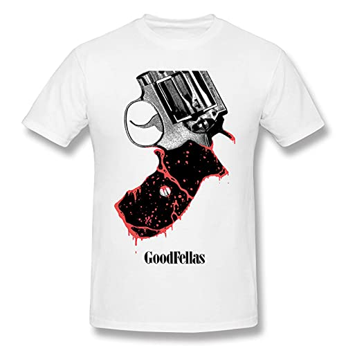COOTHING Goodfellas Revolver Man Fashionable Simple Printed Basic Round Neck White T-Shirt