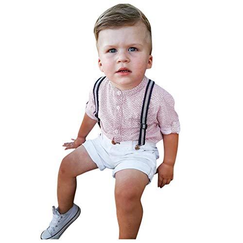 Kolylong® Baby Jungen Bekleidung Set Festliche Kleidung Baumwolle Hemd Hose Hosenträger Taufanzug Gentleman Anzug Kinderbekleidung Shirt + Shorts Bekleidungssets 9 Monate -5 Jahre