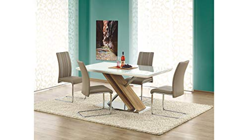 Stylefy Nexus extendable table kitchen table dining table made of glass transparent white (L x W x H): 160 x 90 x 76 cm