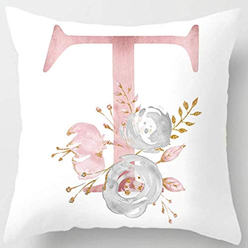 MineSpace Throw Pillow Covers Alphabet Decorative Pillow Cases ABC Letter Flowers Cushion Covers 18 x 18 Inch Square Pillow Protectors for Sofa Couch Bedroom Car Chair Home Decor