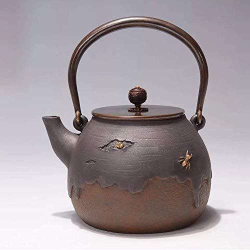 Teekanne Keramik Retro Gusseisen Teekanne Unbeschichtete Metall Teekanne kochendes Wasser Teekanne 1400ml Geeignet für Familien Büros