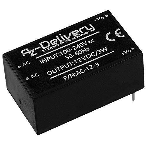 AZDelivery 220V a 12V Fuente de alimentación mini para Arduino y Raspberry Pi con eBook incluido