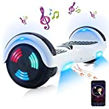 Hoverboard,Hoverboard Premium da 6,5 '- Altoparlante Bluetooth - Potente Doppio Motore - LED - Scooter Elettrico con Bilanciamento Automatico Dello Skateboard (Bianca)