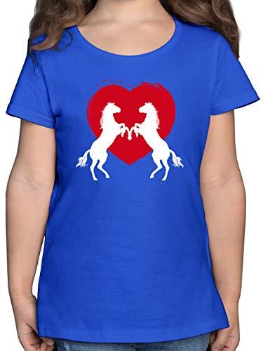 Tiermotive Kind - Pferde mit Herz - 164 (14/15 Jahre) - Royalblau - Pferde mädchen 164 - F131K - Mädchen Kinder T-Shirt