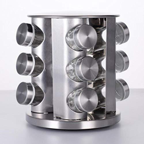12/16/20 piezas de acero inoxidable giratorio estante de almacenamiento soporte tarro de vidrio cocina restaurante condimentos organizador