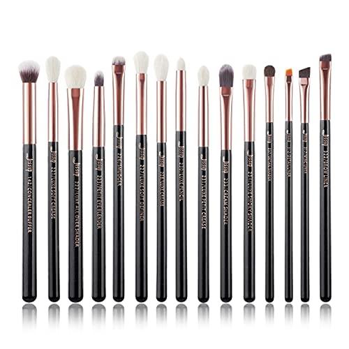 Juego de brochas de maquillaje en polvo de base de oro rosa / negro, línea de sombra de ojos, brocha, resaltador mixto, 6-25 piezas - T157 (15 piezas)