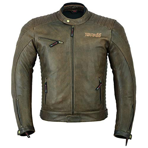 Chaqueta de piel para moto para hombre con armadura, color marrón DC-2809A
